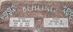 Aleda <I>Tingey</I> Behling