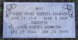 Thaire Henry <I>Roberts</I> Adamson