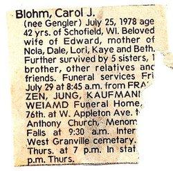 Carol J. <I>Gengler</I> Blohm