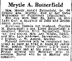 Myrtle Arlene <I>Arnold</I> Butterfield