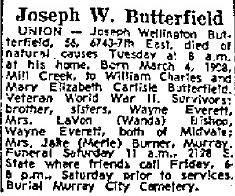 PFC Joseph Wellington Butterfield