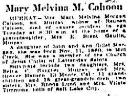 Mary Melvina <I>Morgan</I> Cahoon