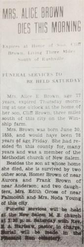 Alice Elizabeth <I>Smith</I> Brown