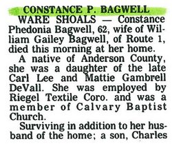 Constance Phedonia <I>DeVall</I> Bagwell