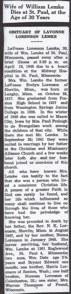 LaVonne Evelyn <I>Lorenson</I> Lemke