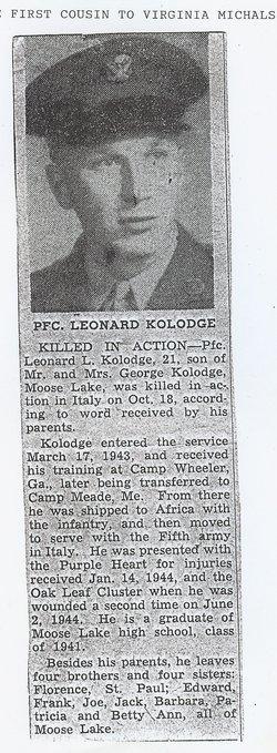 PFC Leonard Louis Kolodge
