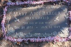 Mary Ann <I>Barnhart</I> Barger