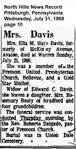 Ella M. <I>Hays</I> Davis