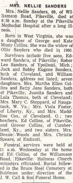 Nellie <I>Collins</I> Sanders