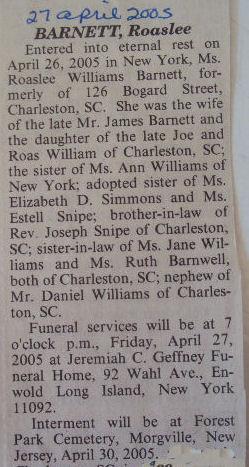 Rosalee <I>Williams</I> Barnett