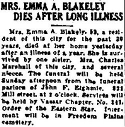 Mrs Emma A. Blakeley
