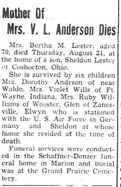 Bertha Mabelle <I>Tewalt</I> Lester