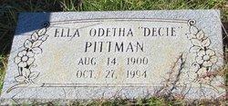 "Ella Odetha ""Decie"" <I>McKee</I> Pittman"