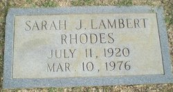 Sarah J <I>Lambert</I> Rhodes