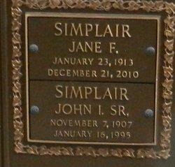 """Jane Agnes """"Jennie"""" <I>Flickinger</I> Simplair"""