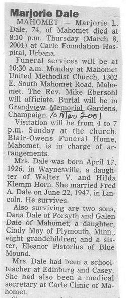 Marjorie L. <I>Horn</I> Dale
