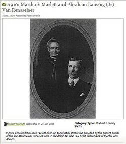 Martha E <I>Marlett</I> Van Rensselaer
