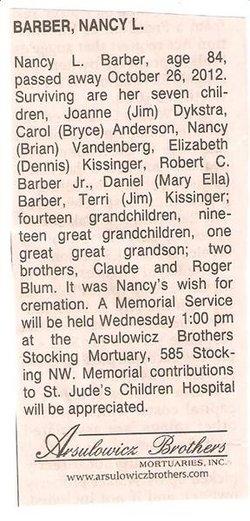 Nancy Lewis <I>Blum</I> Barber