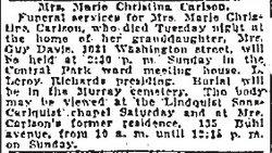 Maria Christina <I>Berg</I> Carlson