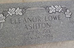 Eleanor <I>Lowe</I> Ashton