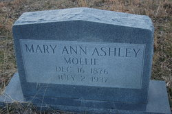 """Mary Ann """"Mollie"""" <I>Winstead</I> Ashley"""