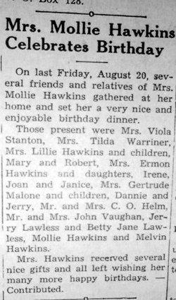 "Mary ""Mollie"" <I>Coffey</I> Hawkins"