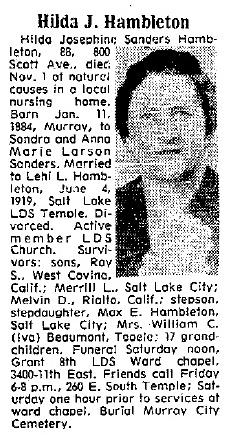 Hilda Josephine <I>Sanders</I> Hambleton