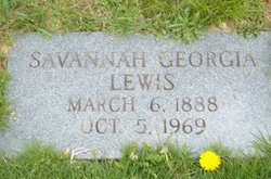 Mrs Savannah Georgia <I>Pettry</I> Lewis