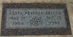 Vesta Mae <I>Breeden</I> Eklund