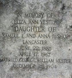 Eliza Ann <I>Lancaster</I> Vester