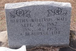 Bertha <I>Williams</I> Hall