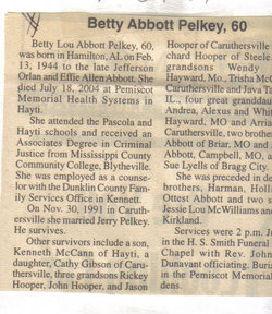 Betty Lou <I>Abbott</I> Pelkey