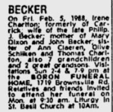 Irene M <I>Charlton</I> Becker