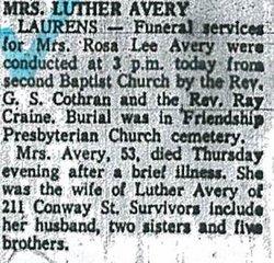 Rosa Lee M Avery