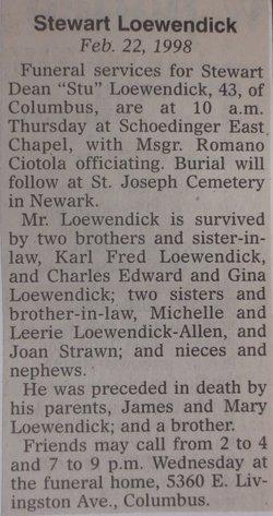 """Stewart Dean """"Stu"""" Loewendick"""