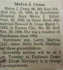 Melva J <I>Ritter</I> Cross