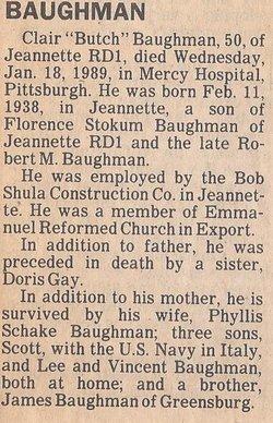"""Clair """"Butch"""" Baughman"""