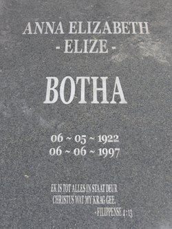 "Anna Elizabeth ""Elize"" Botha"