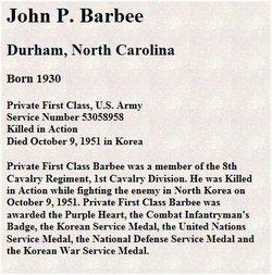 PFC John P Barbee