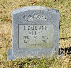 """Elizabeth Ann """"Lizzie"""" <I>Underwood</I> Allen"""