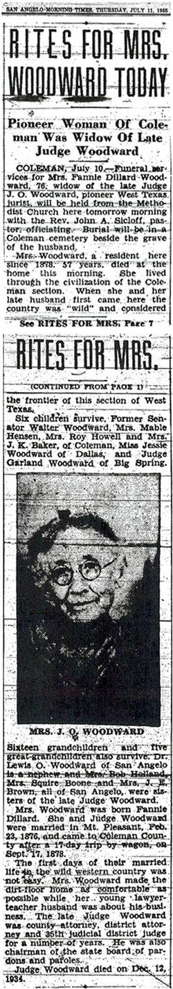 """Frances Elizabeth """"Fannie"""" <I>Dillard</I> Woodward"""