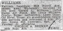 Kathleen <I>Lawrence</I> Williams