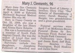 Mary Jane <I>Roberts Dye</I> Clements