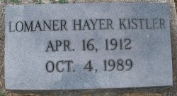 Lomaner Elizabeth <I>Hayer</I> Kistler