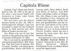 """Capitola """"Capi"""" <I>Storck</I> Bliese"""