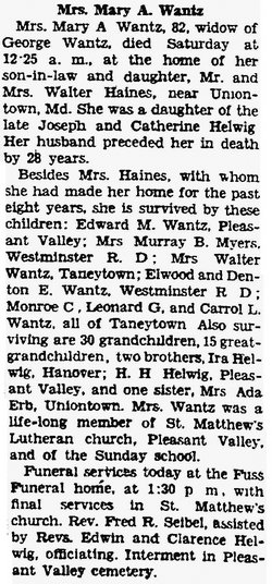 Mary Ann <I>Helwig</I> Wentz
