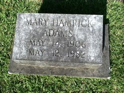 Mary <I>Hamrick</I> Adams