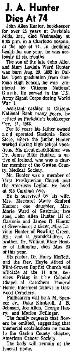John A Hunter, Jr