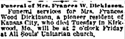 "Frances E ""Fannie"" <I>Wood</I> Dickinson"