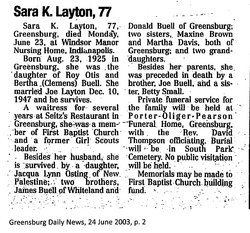 Sara K. <I>Buell</I> Layton